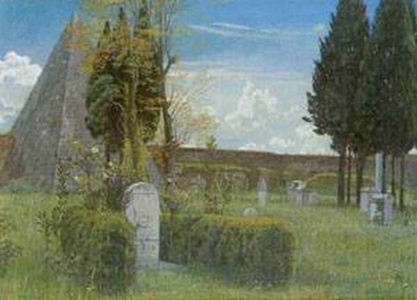 Shelleys tomb in the protestant cemetery in rome 1873